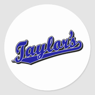Taylor's in Blue Classic Round Sticker