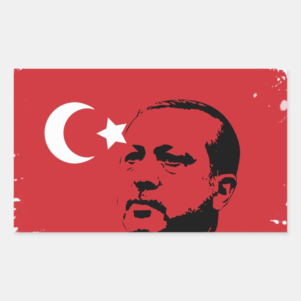 tayyip erdogan love rectangular sticker