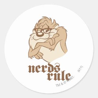 TAZ™ - Nerds Rule Classic Round Sticker