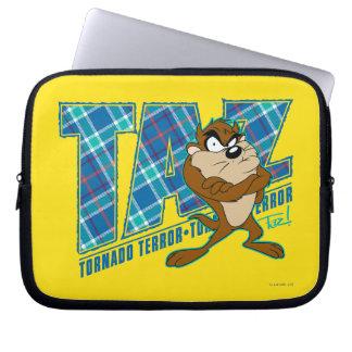 TAZ™ Tornado Terror Plaid Laptop Computer Sleeves