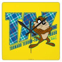 TAZ™ Tornado Terror Plaid Square Wall Clock