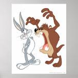 Taz y Bugs Bunny no incluso que retroceden - color Posters