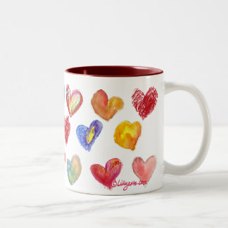 Taza 2 de los corazones del amor de la tarjeta del
