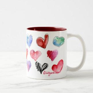 Taza 3 de los corazones del amor de la tarjeta del