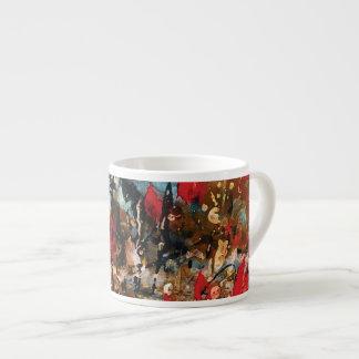 Taza abstracta de la naturaleza en rojo y azul tazas espresso