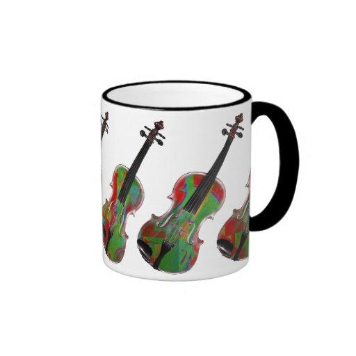 Taza abstracta verde del arte del violín