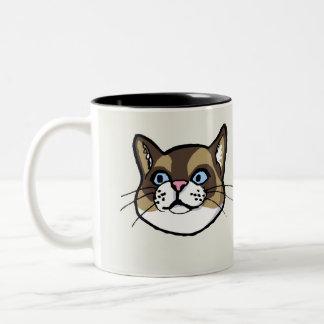 Taza acentuada del dibujo del gato de Ragdoll