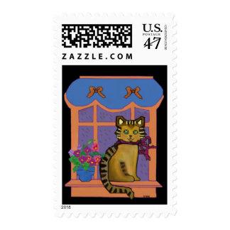 Taza acogedora del gato de Tabby Timbre Postal