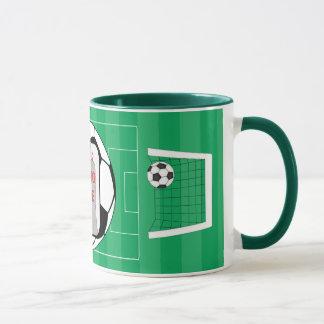 Taza adaptable de la foto del balón de fútbol de