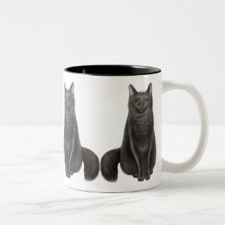Taza afortunada de los gatos negros