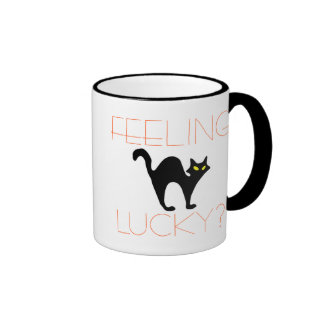 Taza afortunada de sensación de Halloween del gato