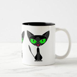 Taza afortunada del gato negro