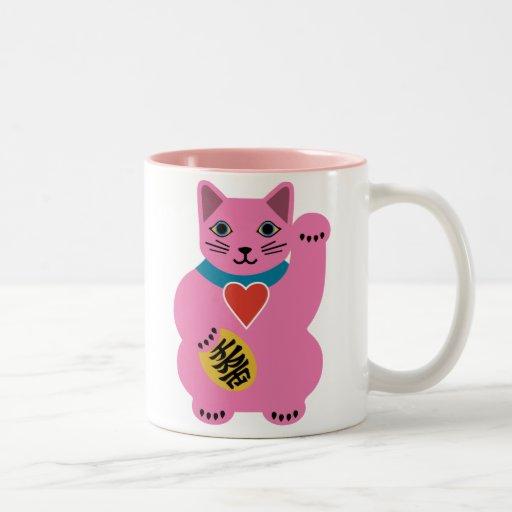 Taza afortunada rosada del gato