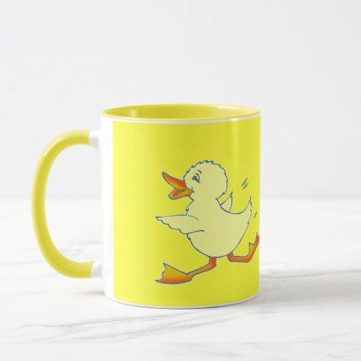 Taza amarilla brillante del pato de Quackers
