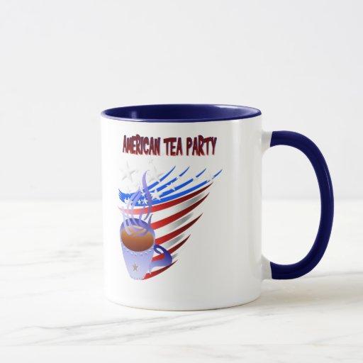 Taza americana de la fiesta del té