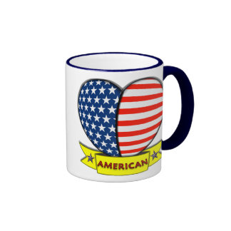 Taza americana del corazón