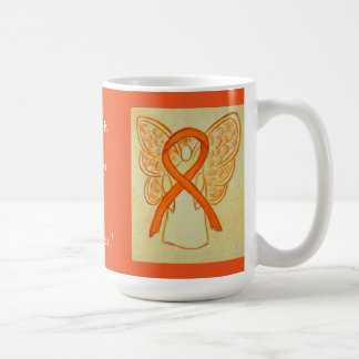 Taza anaranjada del ángel de la cinta de la