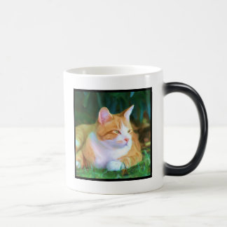 Taza anaranjada del gato de Tabby