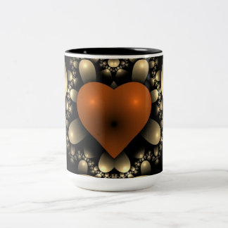 Taza anaranjada del negro del diseño del corazón