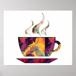 Taza anaranjada del polígono del mosaico de cacao  poster