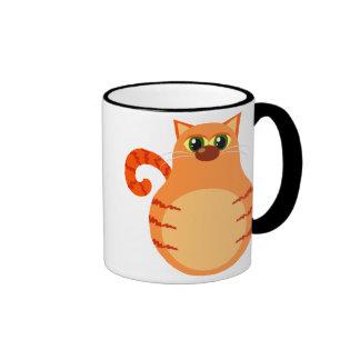 Taza anaranjada divertida del gato de Tabby