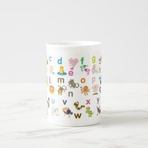 Taza animal del alfabeto taza de porcelana