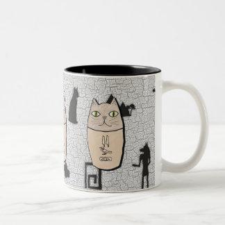 Taza antigua del gatito de Canopic del egipcio