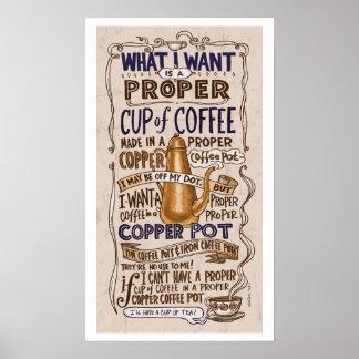 Taza apropiada de costado del café póster
