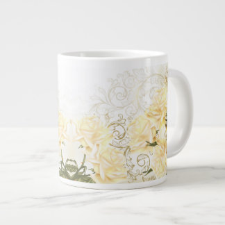 Taza artística del jumbo de los rosas amarillos taza grande