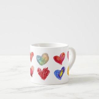 Taza artsy del café express de 12 corazones del am