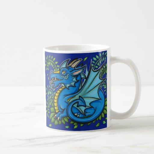 Taza azul 2 del cuadrado x del dragón