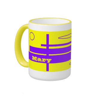 Taza azul amarilla del té de Maria