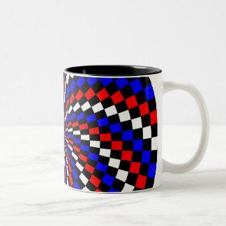 Taza azul blanca roja del Dos-Tono del espiral del
