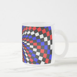 Taza azul blanca roja del vidrio esmerilado del