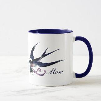 Taza azul de la mamá del pájaro del trago del