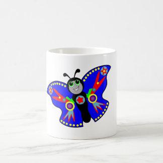 taza azul de la mariposa del super héroe del