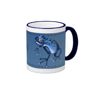 Taza azul de la rana de la diversión