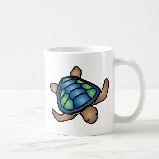 Taza azul de la tortuga verde