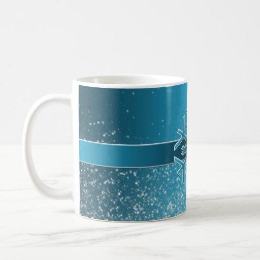 Taza azul de lujo del copo de nieve del navidad