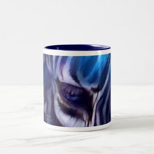 Taza azul del arte de la cebra