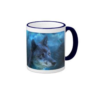 Taza azul del arte del lobo