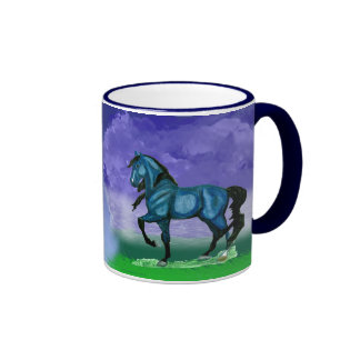 Taza azul del caballo de Paso Fino