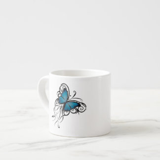 Taza azul del café express del Grunge de la