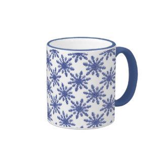 Taza azul del copo de nieve