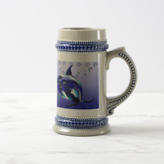 Taza azul del delfín