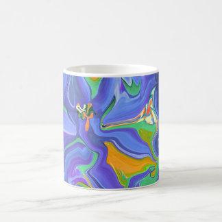 Taza azul del diseñador del arte abstracto de la f