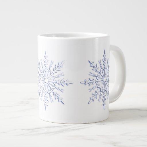Taza azul del jumbo de los copos de nieve del invi tazas jumbo