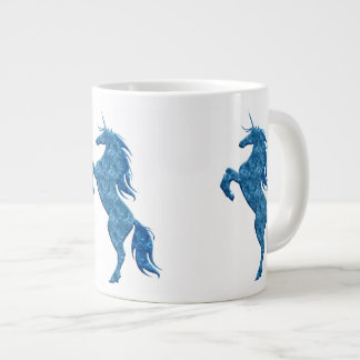 Taza azul del jumbo del unicornio del fuego taza grande