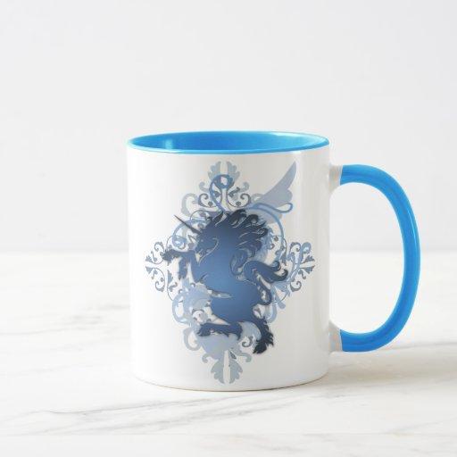 Taza azul del monograma del campanero del