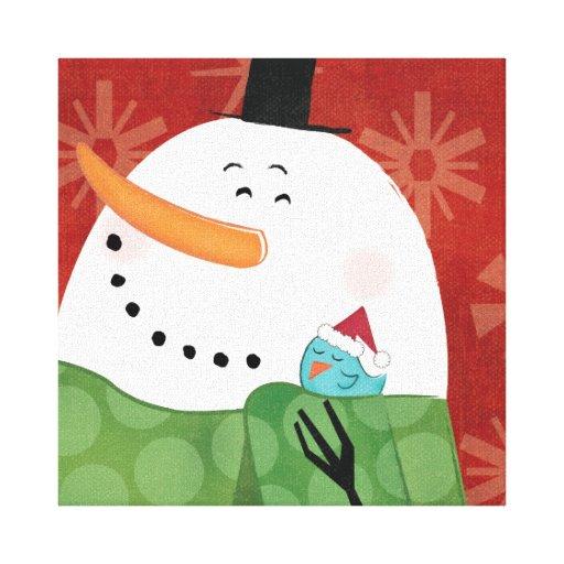 Taza azul del navidad con cacao oscuro impresiones de lienzo